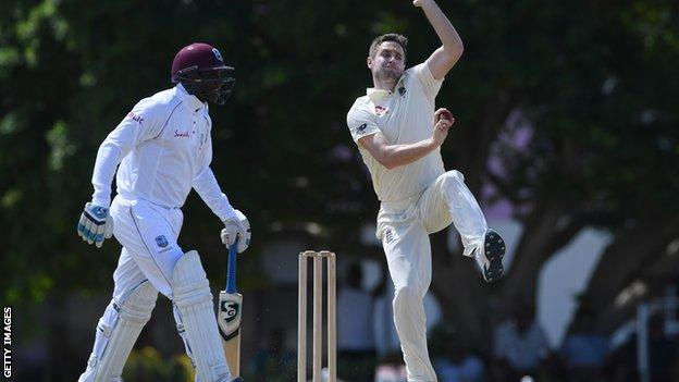 Chris Woakes in action for England against a Cricket West Indies President's XI