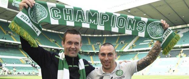 Former Celtic manager Ronny Deila and midfielder Scott Brown