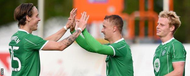 Stefan Johansen and Leigh Griffiths celebrate their goals for Celtic