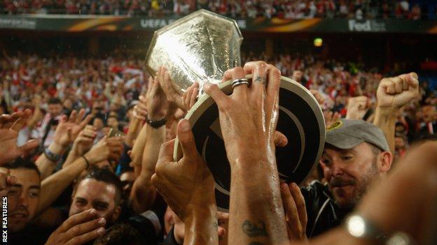 Sevilla celebrate their third straight win
