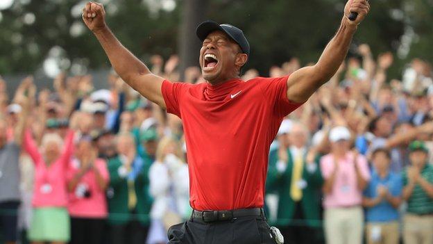 Tiger Woods celebrates winning the 2019 Masters