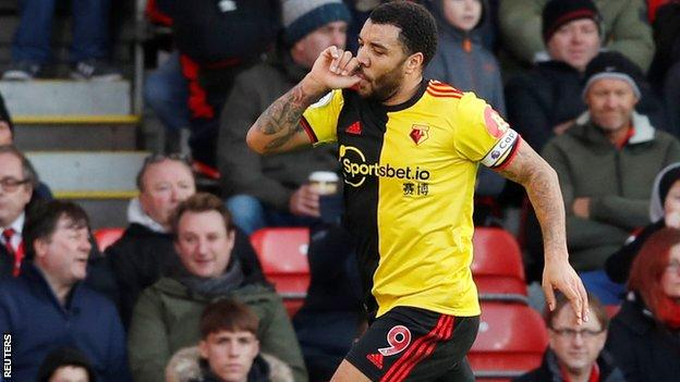 Troy Deeney celebrates scoring against for Watford against Bournemouth