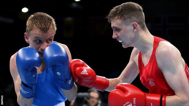 Brendan Irvine attempts to land a right hand in Wednesday's bout against Dmytro Zamotayev