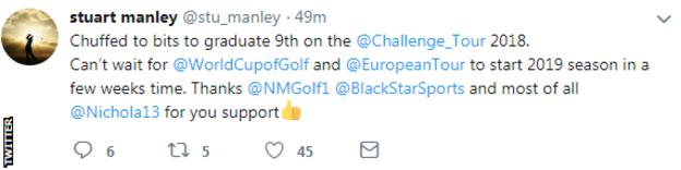 Stuart Manley tweets to say he is happy at the news