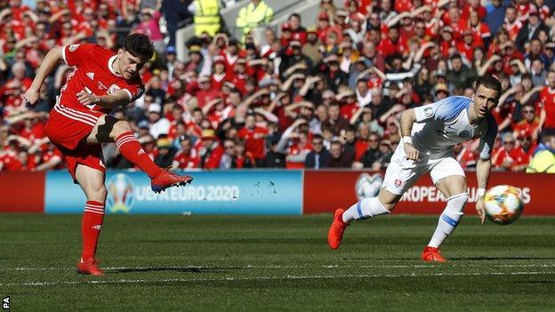 Dan James scores for Wales