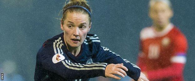 Kim Little in action for Scotland in a Euro qualifying win against Belarus last October