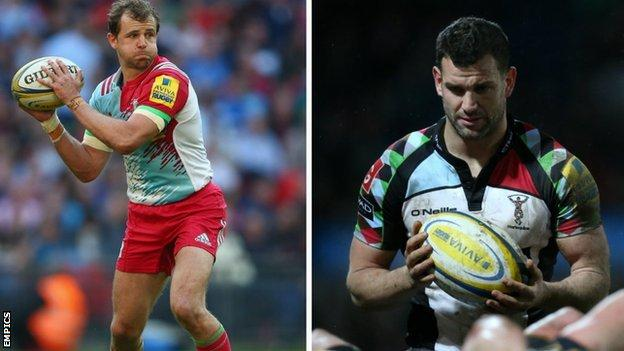 Nick Evans (left) and Karl Dickson are both expected to make their final Quins appearance at The Stoop