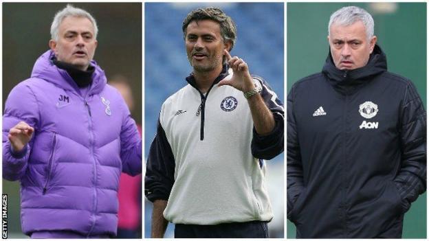 Jose Mourinho while at Tottenham, Chelsea and Man Utd
