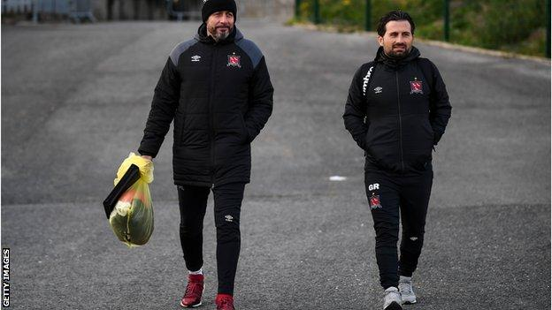 Dundalk manager Filippo Giovagnoli and assistant Giuseppe Rossi