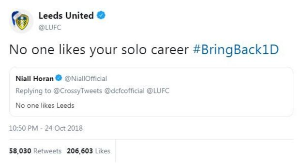 """Niall Horan tweets """"no-one likes Leeds"""", to which Leeds responded """"No-one likes your solo career"""""""