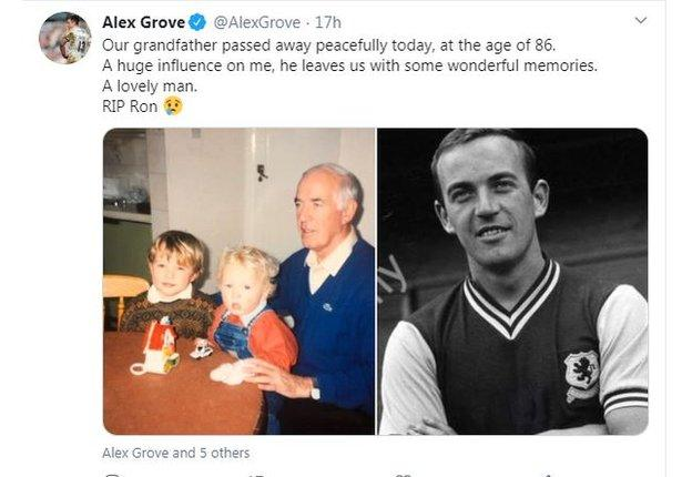 Former Worcester & Scotland centre Alex Grove on Twitter, on his late grandfather, Ron Wylie
