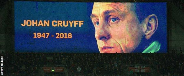 Johan Cruyff on the Wembley screen
