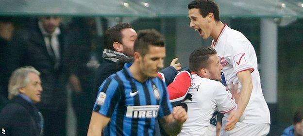 Kevin Lasagna's leveller helped Carpi earn a memorable draw at Inter Milan