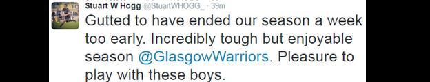 A Stuart Hogg tweet after Glasgow's defeat