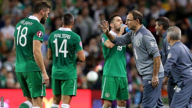 Republic boss Martin O'Neill delivers instructions from the touchline