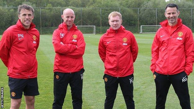 Phil Neville, Nicky Butt, Paul Scholes and Ryan Giggs in charge of Manchester United in April 2014