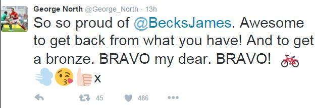 George North's tweet to girlfriend Becky James