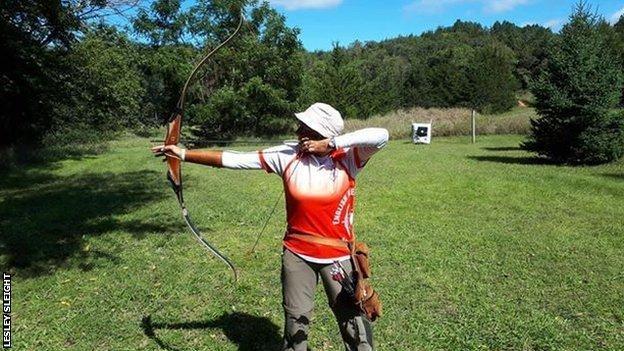 Lesley Sleight shoots an arrow.