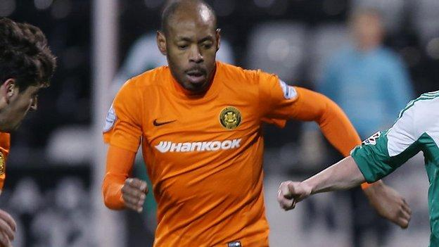 Miguel Chines' penalty put Carrick Rangers 1-0 up against Crumlin Star in Monday night's Irish Cup sixth round tie