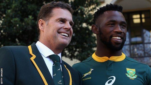New South Africa coach Rassie Erasmus and captain Siya Kolisi