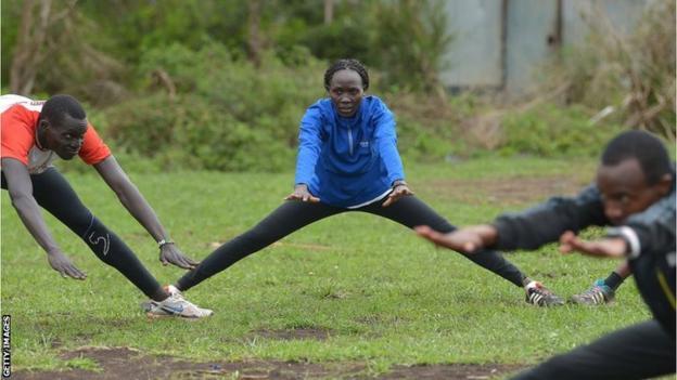 Angelina Lohalith de l'équipe olympique des réfugiés