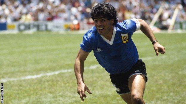 Diego Maradona in action in 1986