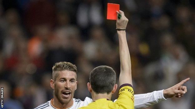 Sergio Ramos getting sent off
