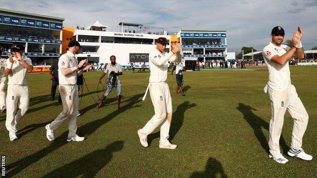 England celebrate the win over Sri Lanka in Galle