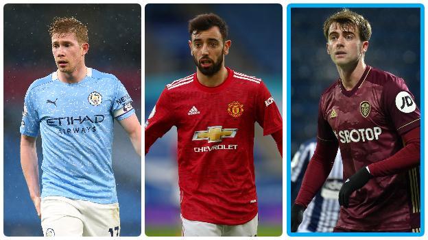 Manchester City's Kevin de Bruyne, Manchester United's Bruno Fernandes and Leeds' Patrick Bamford