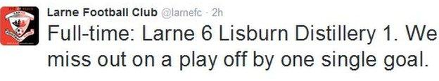Larne almost snatched an unlikely place in the promotion/relegation play-off