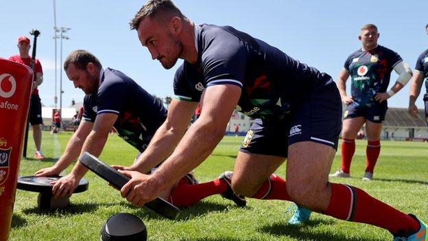 Ken Owens (left) and Ronan Kelleher train at the British and Irish Lions training camp in Jersey