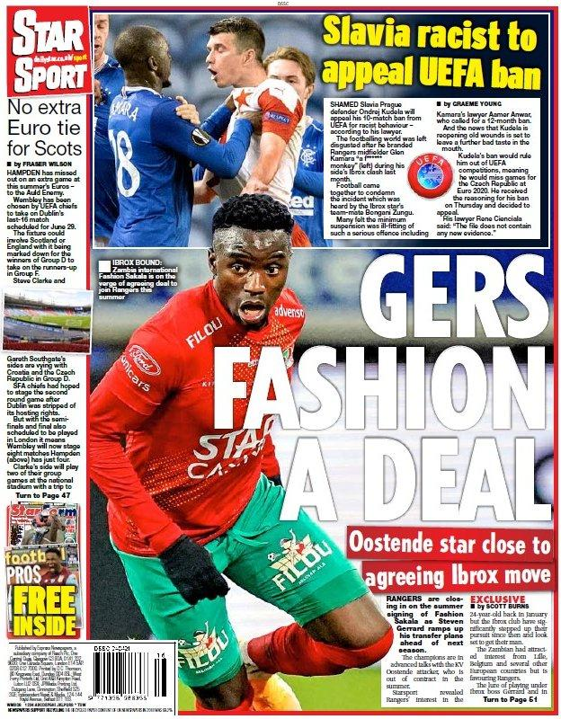 The back page of the Scottish Daily Star on 240421