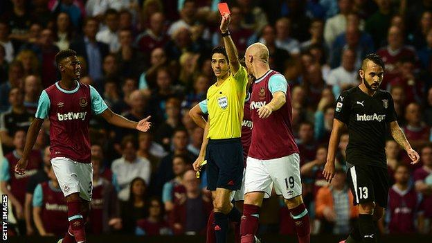 West Ham defender James Collins is sent off against Astra in the Europa League