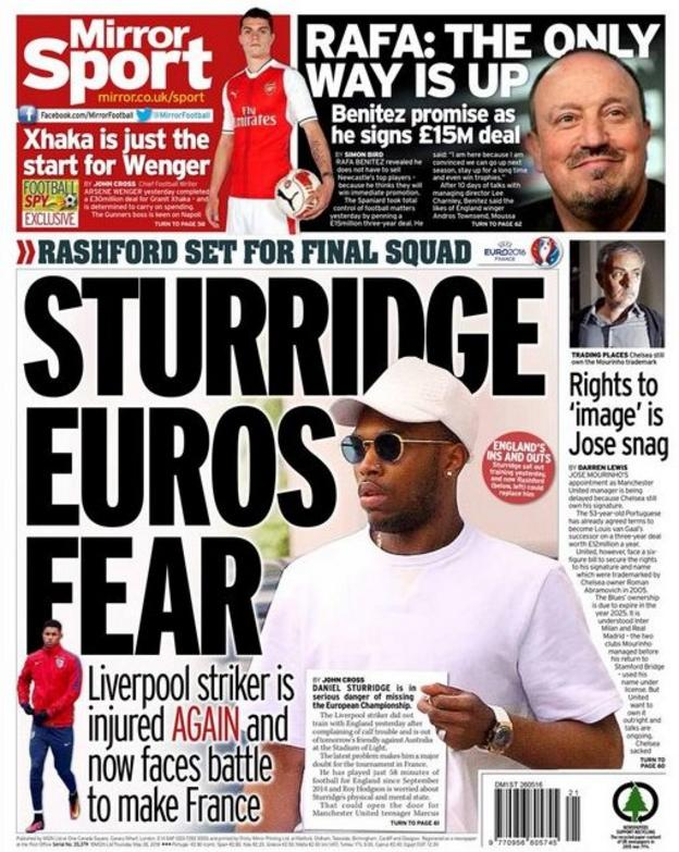 Daily Mirror's back page on Thursday