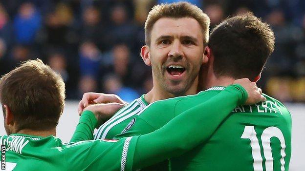 Gareth McAuley scored two headers against the Faroe Islands