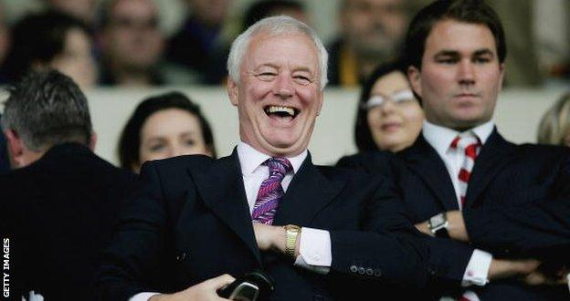 Barry Hearn pictured with his son Eddie, now a top boxing promote, at Orient in 2006