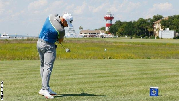 Tyrrell Hatton tees off on the 18th hole at Harbour Town Links, Hilton Head