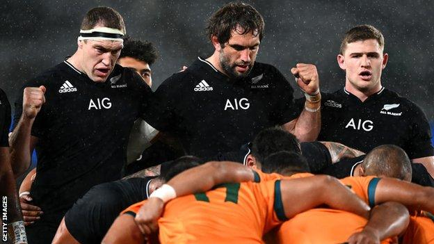 New Zealand and Australia players lock in for a scrum during The Rugby Championship and Bledisloe Cup match at Eden Park on August 14