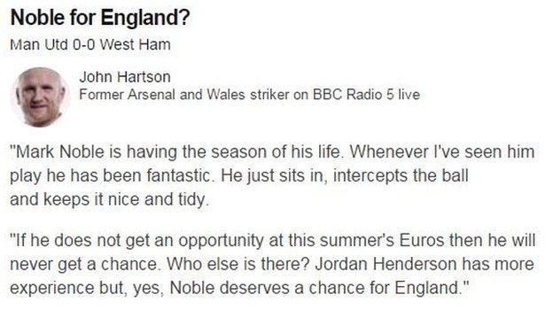 John Hartson making Noble's case during Manchester United v West ham commentary on Sunday