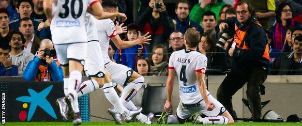 Alex Bergantinos celebrates scoring Deportivo de la Coruna's equaliser at Barcelona