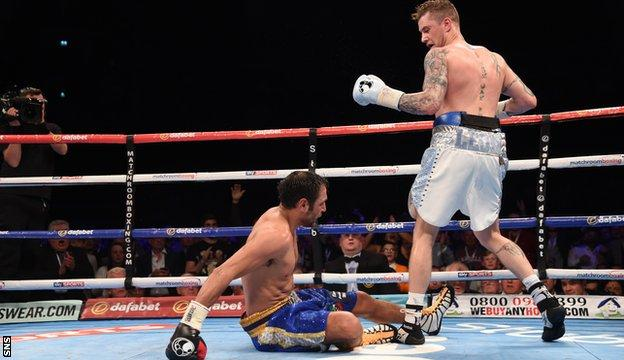 Ricky Burns puts Italy's Michele di Rocco on the canvas at the Hydro in Glasgow in May