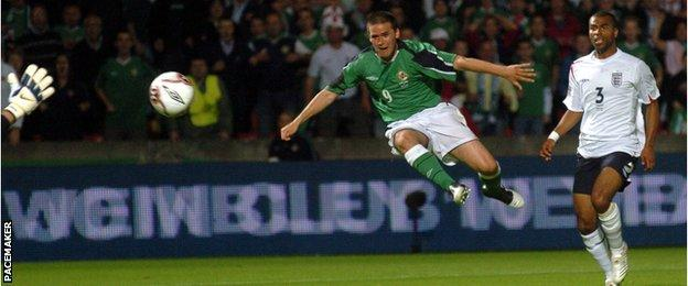 David Healy scores the winning goal against England in September 2005