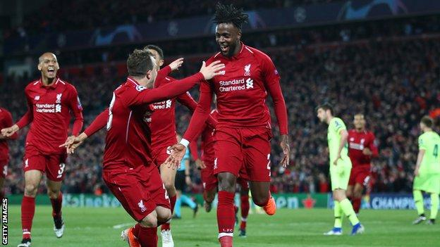 Liverpool striker Divock Origi celebrates scoring against Barcelona in the semi-final of the Champions League