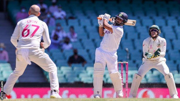 India batsman Rishabh Pant drives Nathan Lyon during day five of the third Test