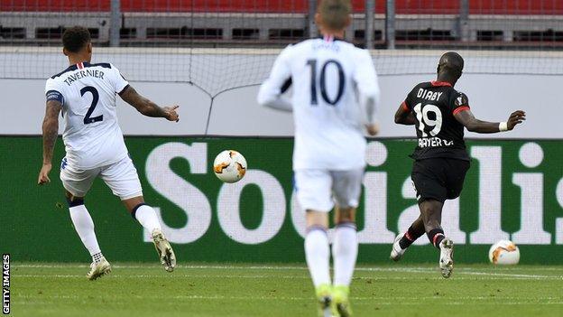 Moussa Diaby scores for Bayer Leverkusen