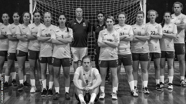 Hannah Mouncey is pictured among the Australian women's handball team