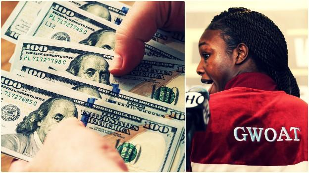 Dollar bills and Claressa Shields