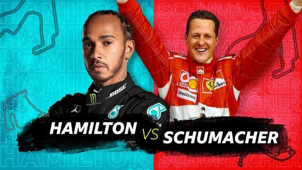 A graph showing Lewis Hamilton and Michael Schumacher