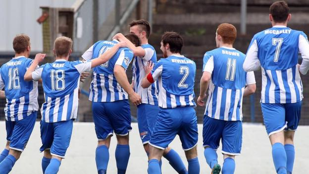 Deserved congratulations for Coleraine striker James McLaughlin after his stunning strike secures a 1-0 win over Dungannon Swifts