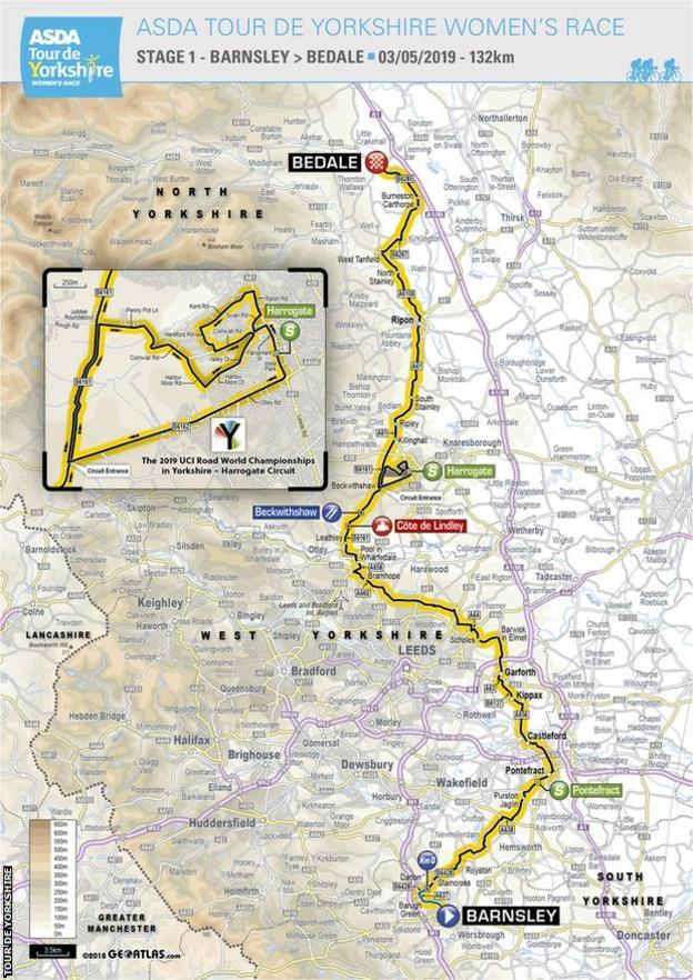 Women's Tour de Yorkshire stage one map